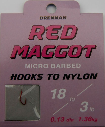 Drennan Red Maggot Haken #18gebunden mit 0.13mm 35cm lang in 8er Pack
