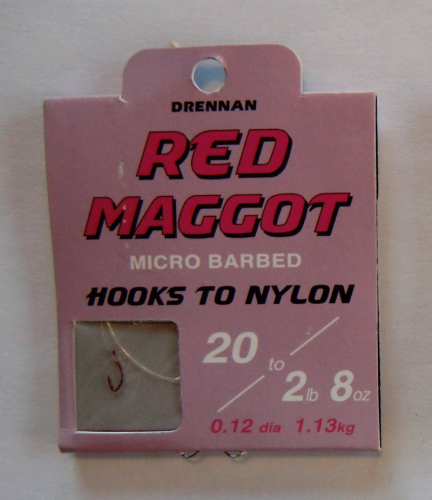 Drennan Red Maggot Haken #20gebunden mit 0.12mm 35cm lang in 8er Pack