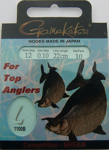 Gamakatsu Haken Competition-Bream LS-1100B Gr.12gebunden mit 0.10mm 22cm lang in 10er Pack