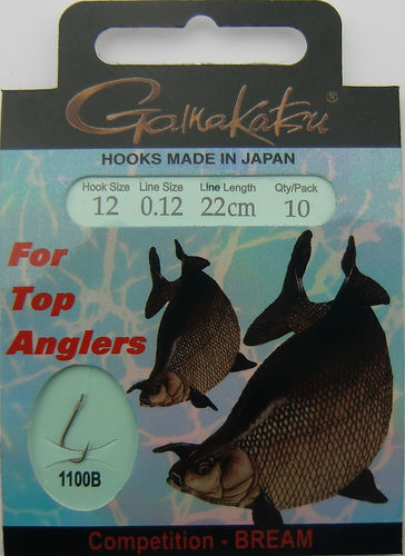 Gamakatsu Haken Competition-Bream LS-1100B Gr.12gebunden mit 0.12mm 22cm lang in 10er Pack