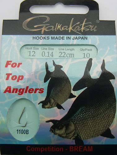 Gamakatsu Haken Competition-Bream LS-1100B Gr.12gebunden mit 0.14mm 22cm lang in 10er Pack
