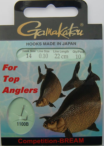 Gamakatsu Haken Competition-Bream LS-1100B Gr.14gebunden mit 0.10mm 22cm lang in 10er Pack