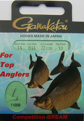 Gamakatsu Haken Competition-Bream LS-1100B Gr.14gebunden mit 0.14mm 22cm lang in 10er Pack