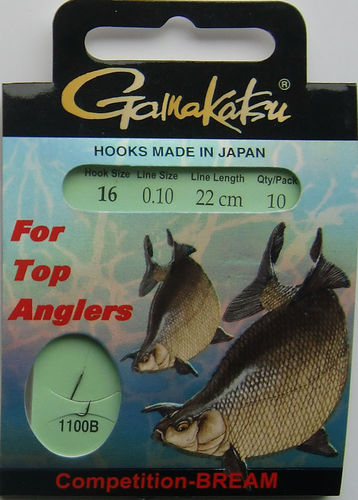 Gamakatsu Haken Competition-Bream LS-1100B Gr.16gebunden mit 0.10mm 22cm lang in 10er Pack