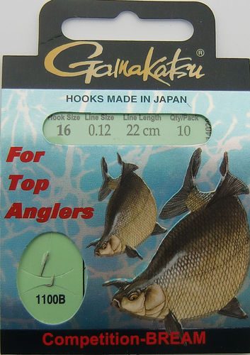 Gamakatsu Haken Competition-Bream LS-1100B Gr.16gebunden mit 0.12mm 22cm lang in 10er Pack