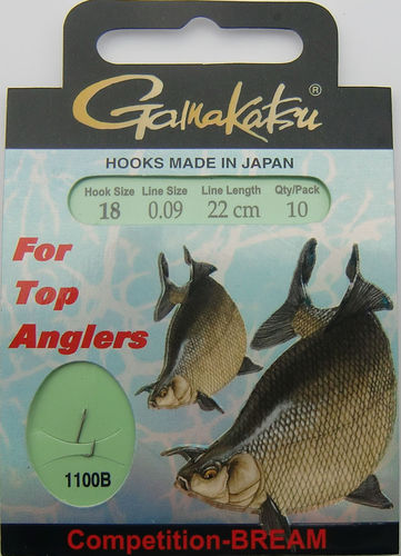 Gamakatsu Haken Competition-Bream LS-1100B Gr.18gebunden mit 0.09mm 22cm lang in 10er Pack